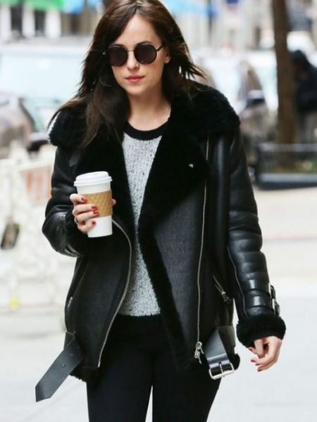 Women's Fashion, Dakota-Johnson-Leather-Jacket
