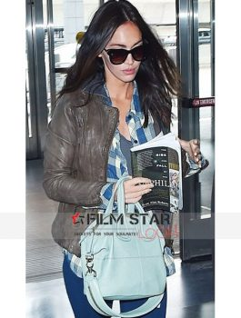 Megan Fox Brown Biker Leather Jacket