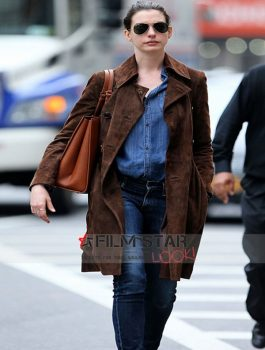 Anne Hathaway Brown Suede Leather Coat Jacket