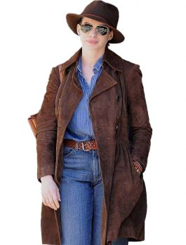 Anne Hathaway Brown Suede Leather Trench Coat