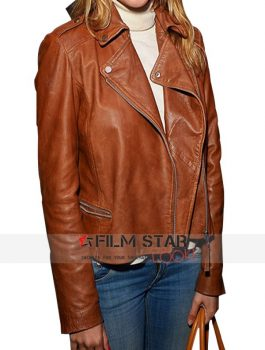 Made In Chelsea Caggie Dunlop Tan Leather Jacket