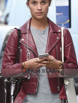 Alicia Vikander Red Women Leather Jacket