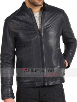 Black Slim fit Waist Pockets Biker Jacket