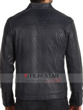 Black Waist Pockets Biker Jacket