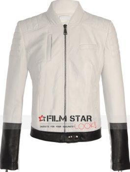 Black & White Slimfit Leather Biker Jacket