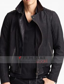 Waist Pocket Black Slim fit Leather Jacket
