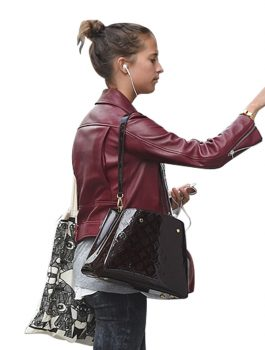Alicia Vikander Maroon Women Leather Jacket