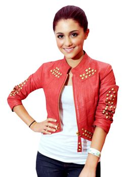 Ariana Grande Red Faux Leather Jacket