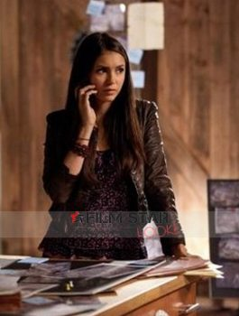 Elena Gilbert The Vampire Diaries Damon Leather Jacket