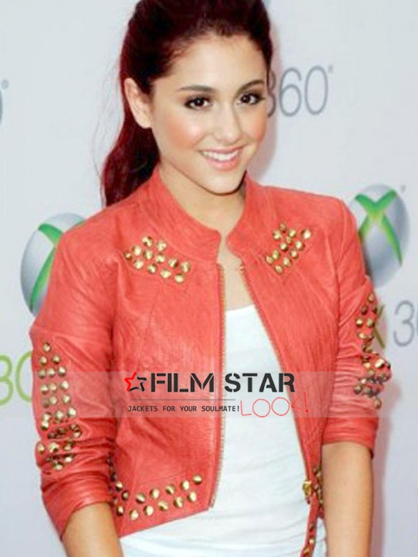 Get a free profits and trade approach for buying this Ariana Grande Red Leather Studded Jacket from FilmStarLook.com at this moment.
