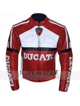 Ducati Red & White Mens Leather Motorcycle Jacket