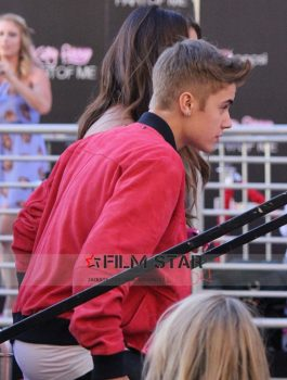 Justin Bieber Suede Leather Red Bomber Jacket