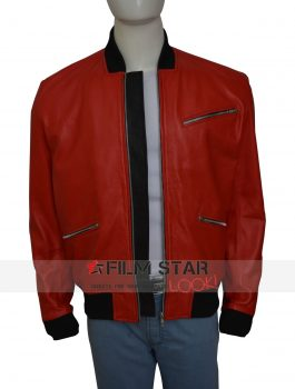 John Boyega Red Bomber Leather Jacket