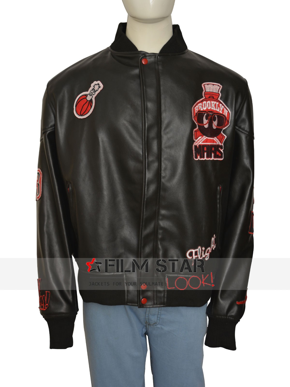 Air Jordan Marvin The Martian Bomber Black Leather Jacket