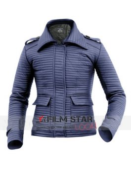Leather Skin Women Red Rib Quilted Genuine Leather Jacket Front