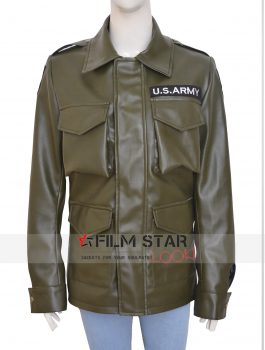 Kim Kardashian Army Green Leather Jacket