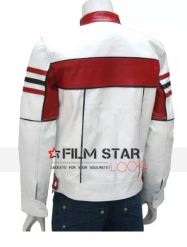 Bi-Color White Leather Biker Jacket For Mens