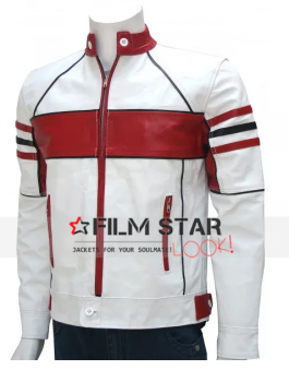 Bi-Color White Mens Leather Biker Jacket