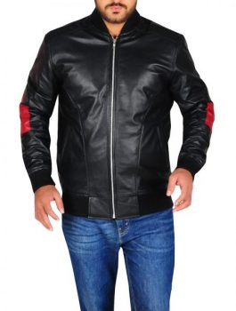 Men Bomber Leather Jacket, Leather Jacket