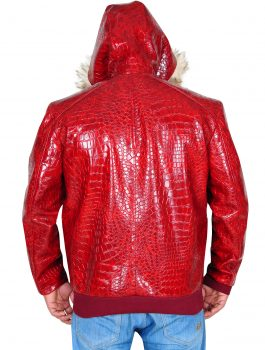 Hoodie-Red-Crocodile-Leather-Jacket