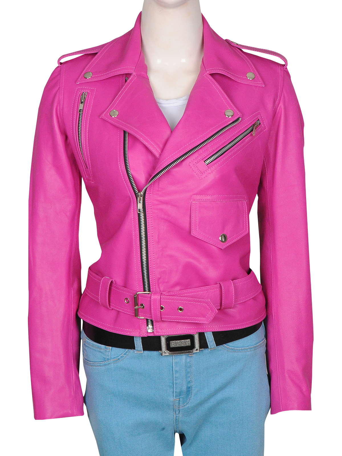 Hot Jessica Alba Pink Leather Jacket