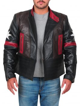 Mens Fashion Star Patch Real Leather Jacket