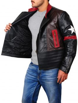Star Patch Real Leather Jacket
