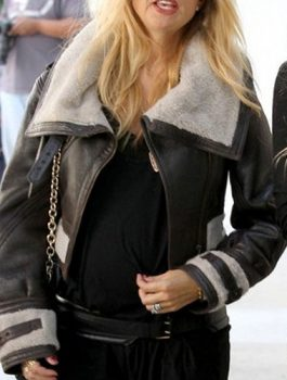 B3 Long Collar Aviator Real Shearling Fur Rachel Zoe Jacket