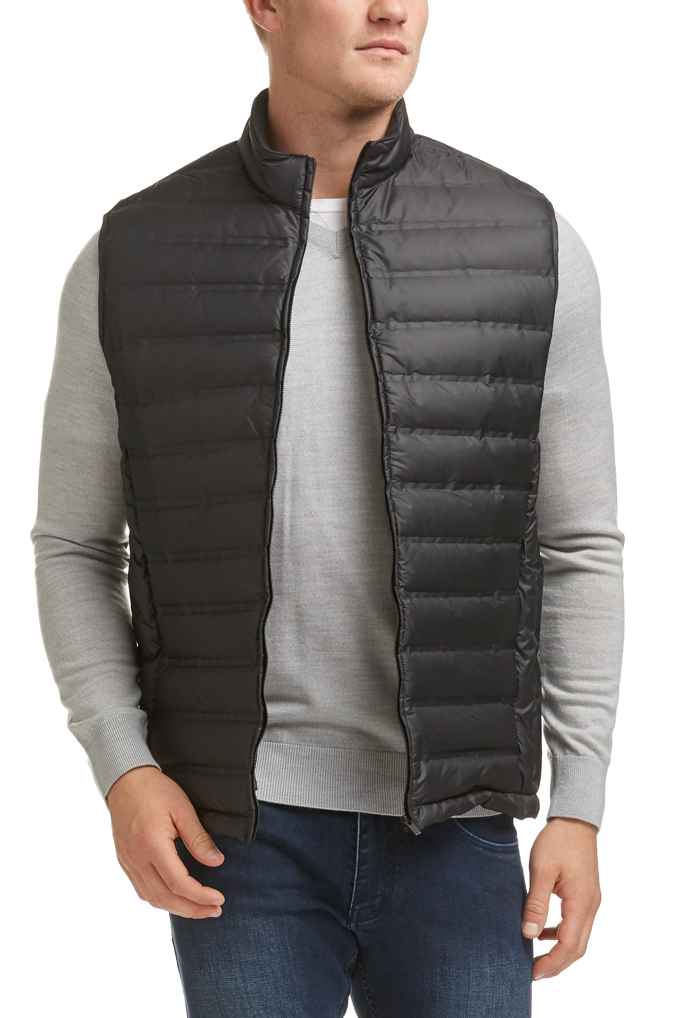Mens-Black-Quilted-Down-Style-Vest