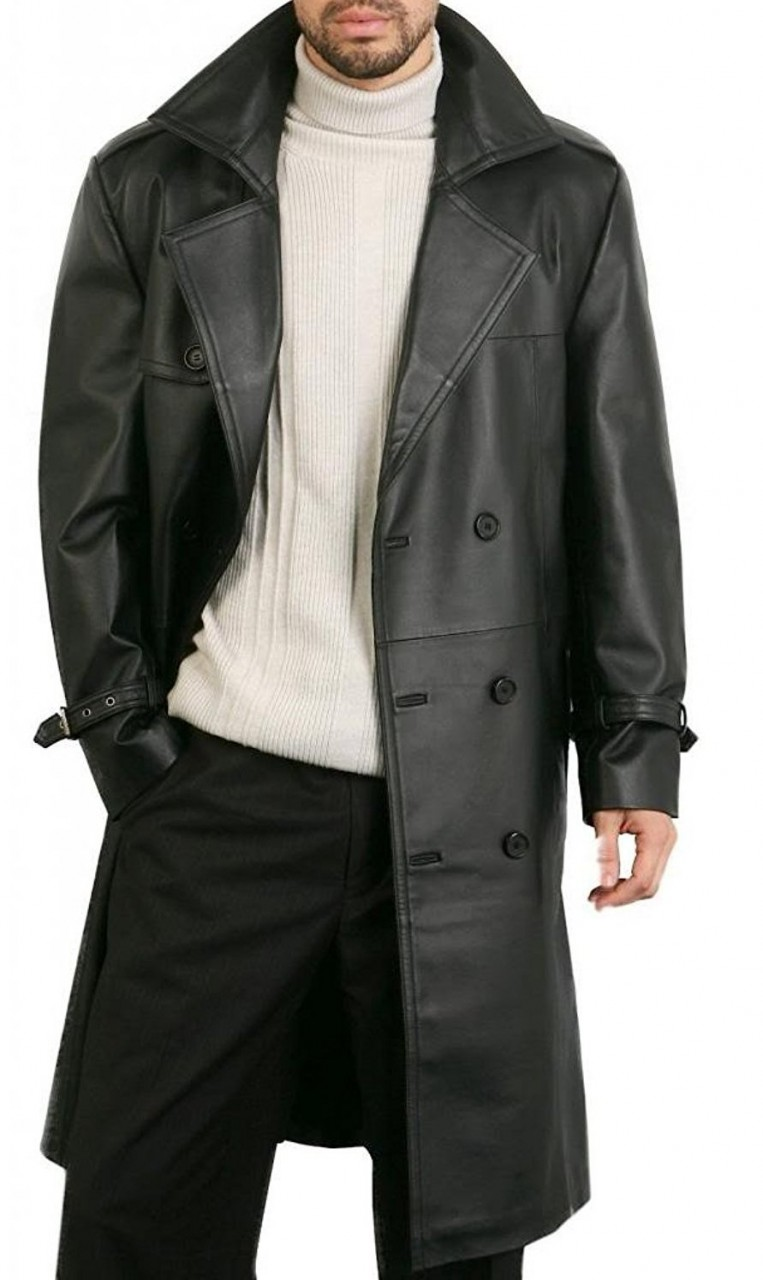 Augusta Guys Black Biker Style Double Breasted Pure Faux Leather Overcoat