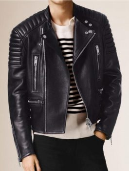 EFilmstarlook ShootPadded Shoulders Asymmetrical Bikers Jacket (3)