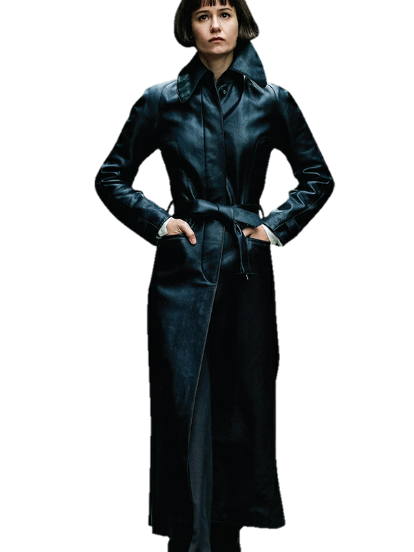 Katherine Waterston Fantastic Beasts 2 Tina Goldstein Leather Coat