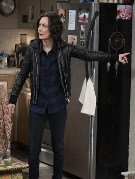 The-Conners-Sara-Gilbert-Hoodie-Leather-Jacket