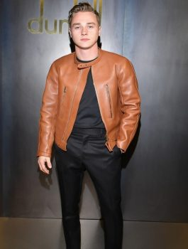 Ben-Hardy-Fashion-Show-In-Paris-Brown-Jacket