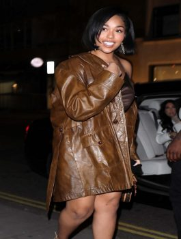 Women-Fashion-Jordyn-Woods-Brown-Leather-Coat