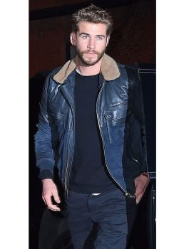 Actor Liam Hemsworth Leather Jacket