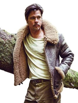 Brad Pitt Shearling Brown Leather Jacket