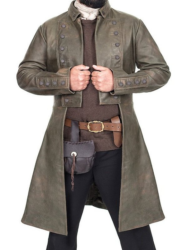 Sam Heughan Leather Coat, Men's Coat