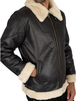 Amazing Black B3 Fl Fur Collar Men Bomber Jacket