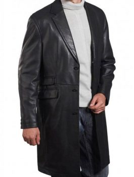 Angel David Leather Coat, Men Leather Coat