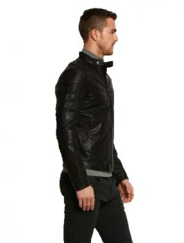 Men's Fitted Black Leather Biker Jacket
