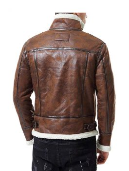Men's Motorcycle Bomber Distress Brown Faux Fur Jacket
