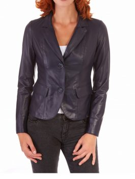 Women Trendy Grey Leather Blazer