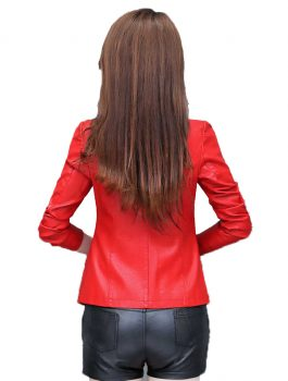 Women Spring Short Casual Leather Blazer